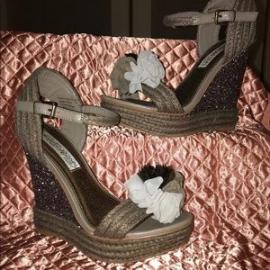 Naughty Monkey Glitter Platform Wedge Sandals